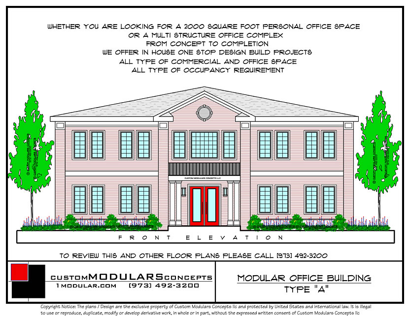 Modular Commercial Office Building A Front Elevation